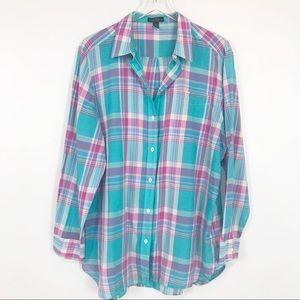 Lauren Ralph Lauren pretty plaid button down shirt